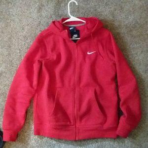 Red nike zip up hoodie